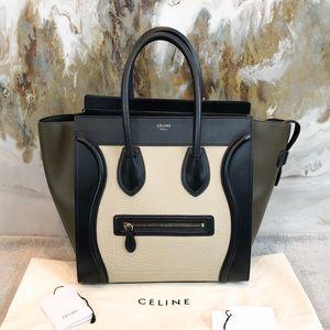 Celine Tri Color Khaki Mini Luggage Shopper Tote
